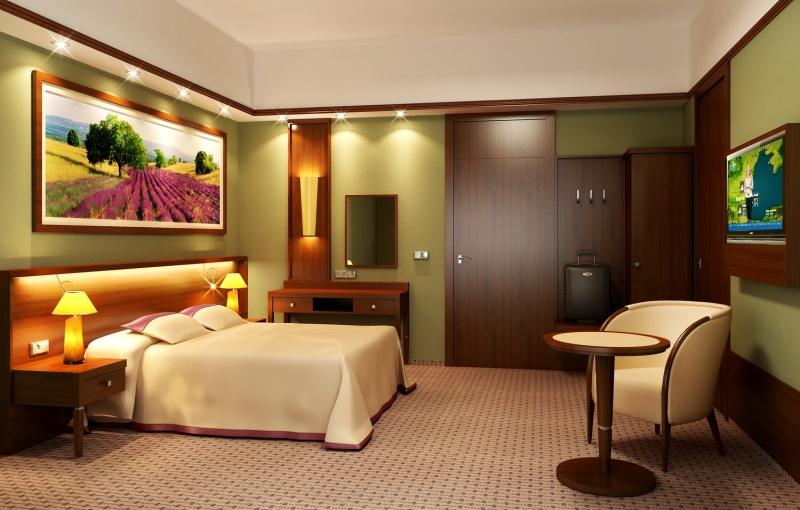 Pokój hotelowy zaprojektowany wPrownes