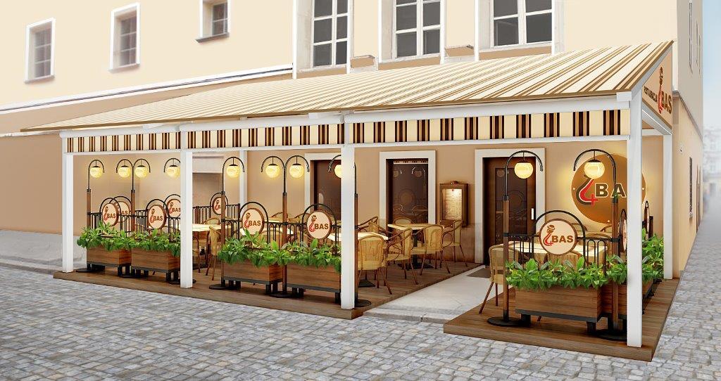 Ogródek restauracyjny zaprojektowany przezPrownes
