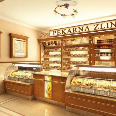 Bakery interior in Zlin Czech Republic