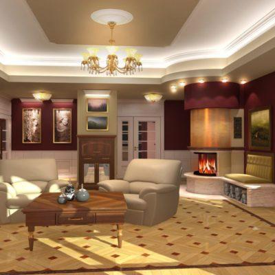 Projekt wnętrza salonu w prywatnej rezydencji