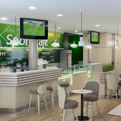 Wnętrze kawiarni Sport Cafe